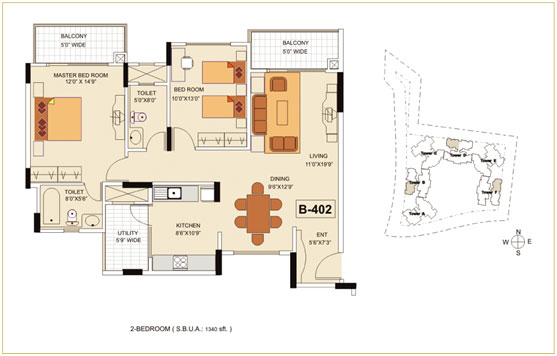 2BHK – 1340 sq.ft. to 1370 sq.ft.