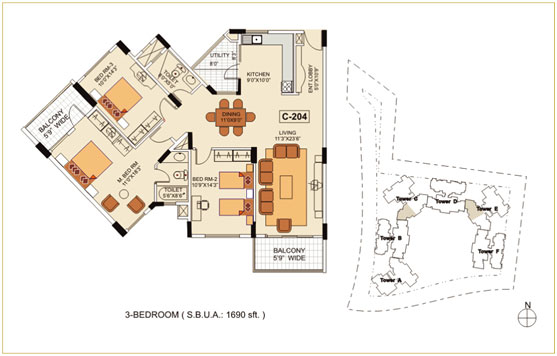 3BHK – 1780 sq.ft. to 1865 sq.ft.