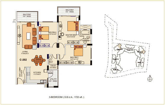 2.5BHK – 1690 sq.ft. to 1720 sq.ft.